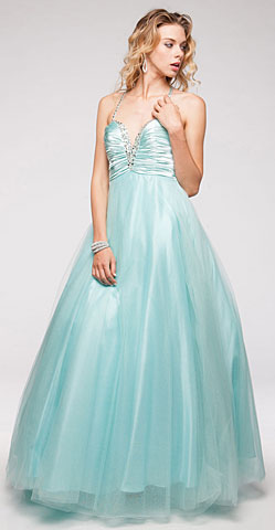 V-Neck Satin Bodice Puffy Mesh Skirt Formal Prom Dress. a606.
