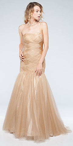 Strapless Mermaid Like Long Pageant Dress in Tulle with Train. a619.