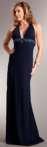 Plunging Neckline Plus Size Prom Dress with Bejeweled Back. a621.