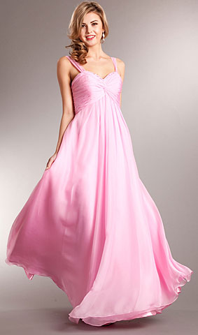 Broad Straps Shirred Bust Long Prom Dress. a622.