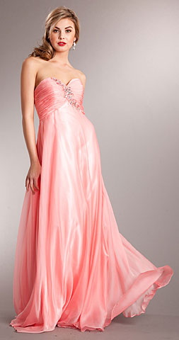 Strapless Shirred Long Prom Dress with Rhinestones. a625.