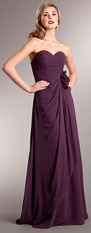 Pleated Wrap Style Floral Long Formal Bridesmaid Dress. a626.