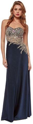 Asymmetric Mesh Rhinestones Bodice Long Pageant Dress. a635.