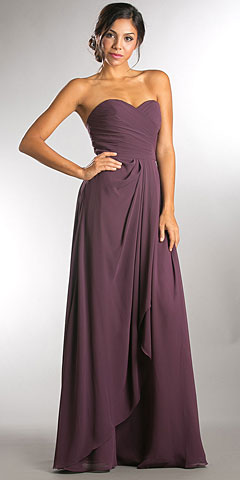 Strapless Pleated Overlap Bust Long Bridesmaid Dress. a640.