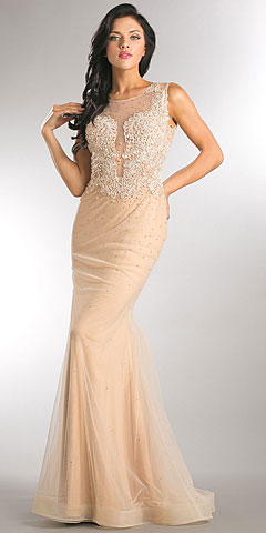 Embroidered Lace Top Mesh Tulle Long Prom Pageant Dress
