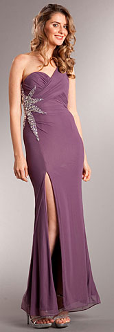 One Shoulder Long Formal Dress with Bejeweled Waist. a702.