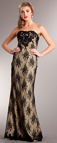 Strapless Floral Mesh Beaded Long Prom Dress . a703.