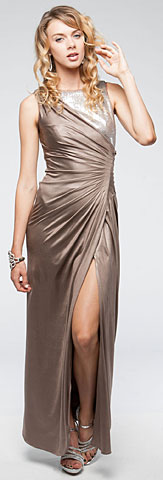 Sleeveless Wrap Around Style Shimmery Long Formal Dress. a705.