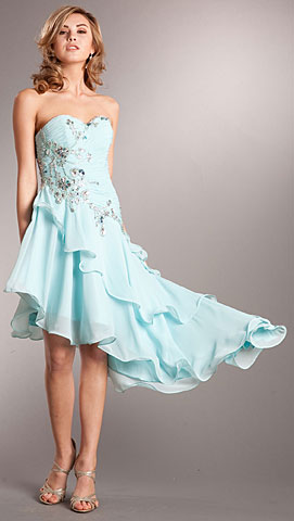 Strapless Beaded Short Dress with Asymmetric Ruffled Skirt. a706.