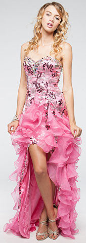 Strapless High-Low Sequined Prom Dress with Ruffled Skirt. a708.