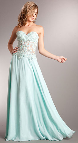 Strapless Vintage Look Floral Bodice Long Formal Dress. a711.
