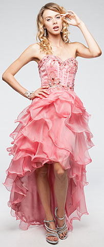 Strapless High-Low Pageant Dress with Ruffled Skirt. a712.