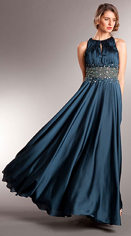Ruched Bust Beaded Empire Cut Long Formal Prom Dress. a714.