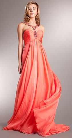 Bejeweled Straps Shirred Long Formal Evening Prom Dress. a715.