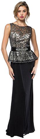 Glittery Peplum Top Full Length Formal Evening Prom Dress. a717.