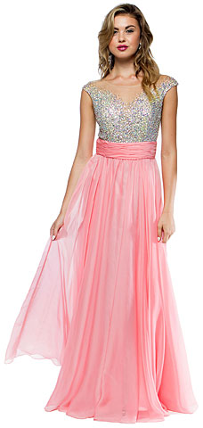 Sleeveless Bejeweled Mesh Bust Long Formal Dress. a726.