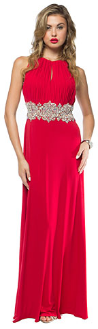 Halter Neck Bejeweled Waist Long Formal Prom Dress. a727.