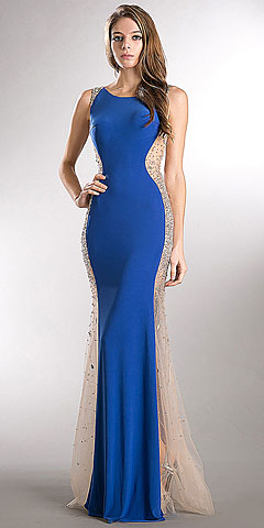 Studded Sheer Mesh Sides Flared Long Prom Dress. a732.