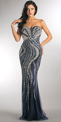 Strapless Bejeweled Bodice Mesh Long Formal Prom Dress. a734.