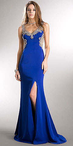 Bejeweled Bust & Back Floor Length Prom Pageant Dress. a741.