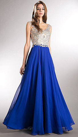 Beaded Brocade Lace Mesh Top Long Formal Prom Dress. a744.