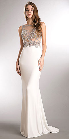 Sparkling Beaded Mesh Top Sheer Back Long Pageant Dress. a745.