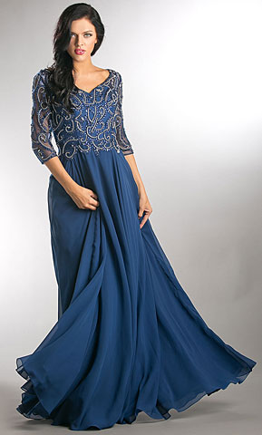 V-Neck Beaded Top Half Sleeves Long Mother of Bride Dress. a746.
