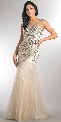 Beaded Mesh Tulle Mermaid Style Long Pageant Dress. a747.