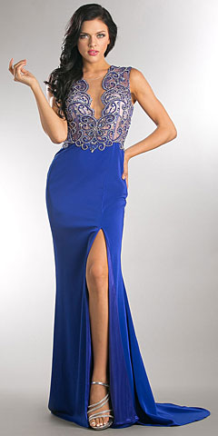 Elegant Beaded Sheer Bodice Long Prom Pageant Dress. a749.