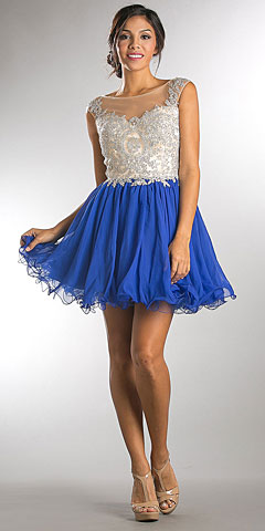 Embellished Lace Bodice Short Babydoll Homecoming Dress. a750.