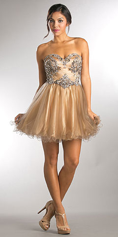 Strapless Satin Beaded Top Short Tulle Homecoming Dress. a751.