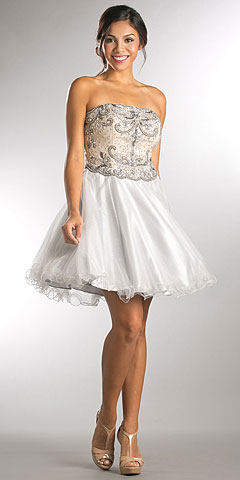 Strapless Beaded Top Shiny Tulle Short Homecoming Dress. a752.