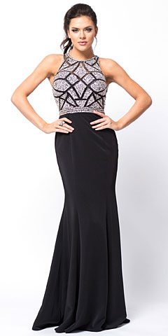 Sleeveless Beaded Top High Neck Long Prom Dress. a756.