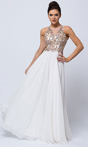 Sleeveless Floral Accent Beaded Top Long Prom Dress. a757.