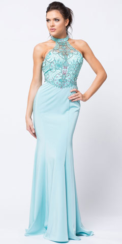 Beaded Halter Mesh Top Flared Skirt Long Prom Dress. a758.