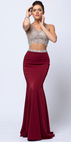 Bejeweled V-neck Mesh Top Fit-n-Flare Long Skirt Prom Dress. a759.
