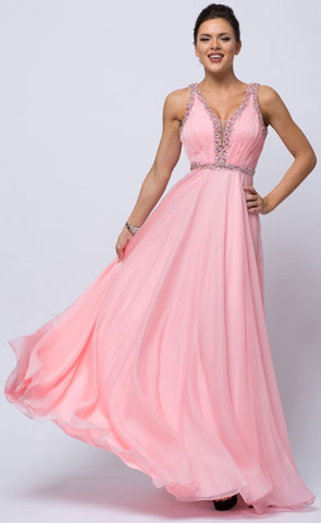 Sequined Shirred Bodice A-line Chiffon Long Prom Dress. a760.