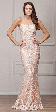 Beads & Lace Accent Long Fitted Formal Prom Pageant Dress. a764.