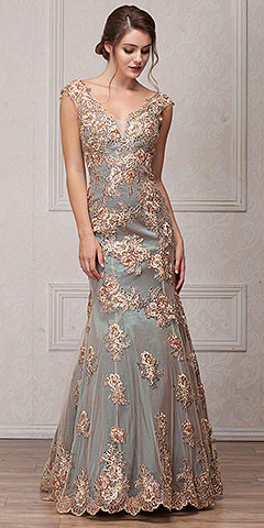 V-Neck Floral Embellishments Mesh Long Prom Pageant Dress. a766.