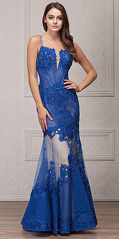 Spaghetti Straps Sequins Lace Mesh Long Pageant Gown. a771.