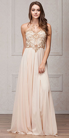 Mesh Beaded Bodice Long Chiffon Formal Evening Dress. a775.