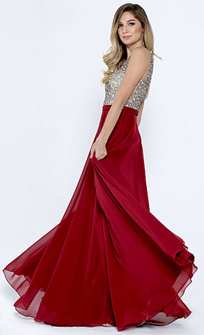 Bejeweled Bodice V-Neck Sleeveless Long Prom Dress. a776.