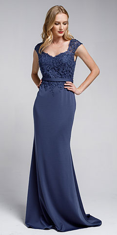 Sweatheart Neckline Embroidered Evening Gown. a783.