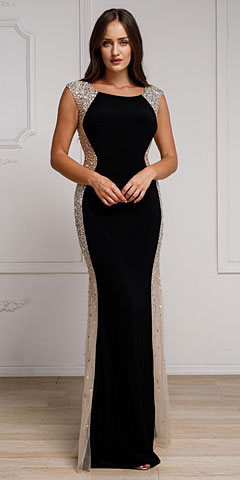 Silhouette Styles Evening Gown with Rhinestone Accents. a785.