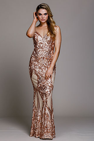 Fitted Silhouette Sequin Prom Gown. a791.