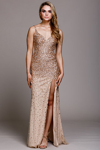 Sweetheart Neckline Sequin Prom Gown. a793.