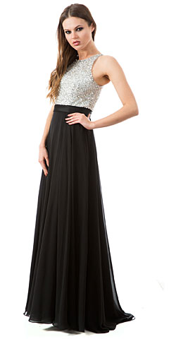 Jewel Bodice Chiffon Skirt Long Prom Dress. a801.