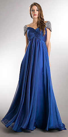 Bejeweled Sleeves Pleated Bust Long Formal Evening Dress. a812.