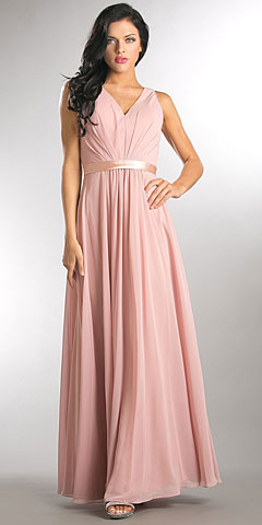 V-neck Sleeveless Ruched Bodice Long Bridesmaid Dress. a814.