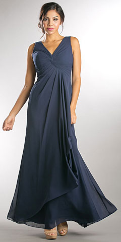 V-Neck Ruched Twist Knot Bust Long Bridesmaid Dress. a815.